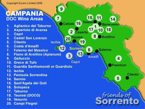 DOC wine areas in Campania
