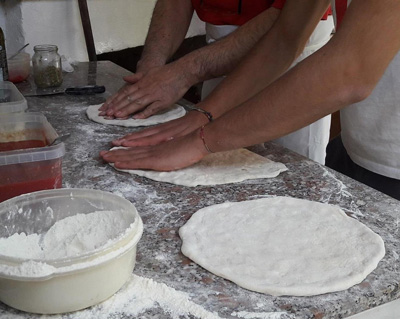 Pizza making dough