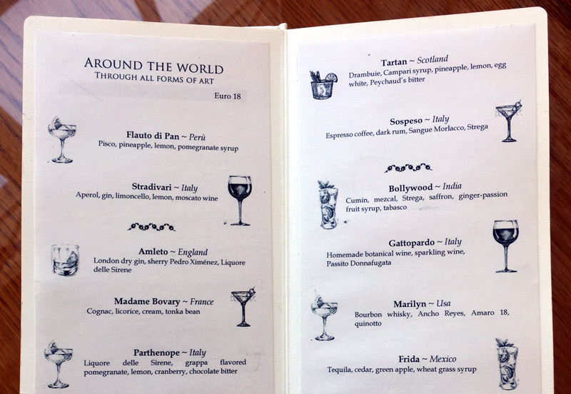 Signature cocktail menu at the Excelsior Vittoria in Sorrento