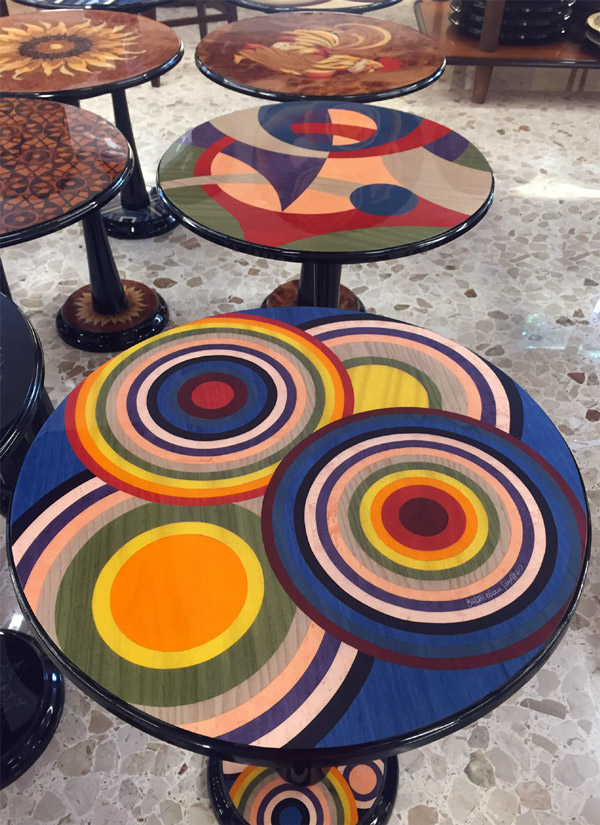 Inlaid tables from Sorento