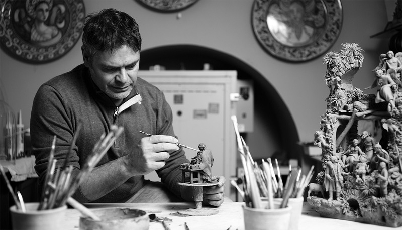 Marcello Aversa at his workbench in Sorrento